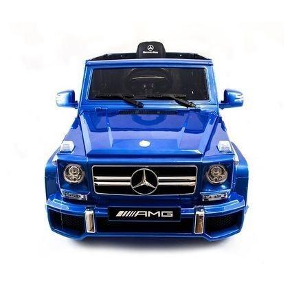 Электромобиль Mercedes-Benz G63 AMG синий (колеса резина, сиденье кожа, пульт, музыка, черные диски)